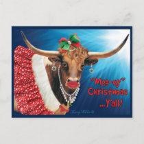 """MOO-ey"" Christmas, Longhorn Cow Postcard"