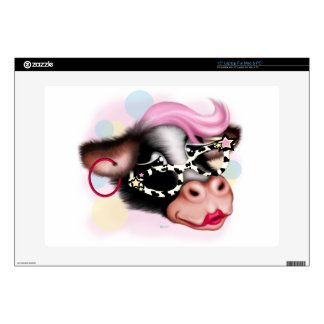 """MOO FACE CARTOON Vinyl Device Protection Skin 15 Decal For 15"""" Laptop"""