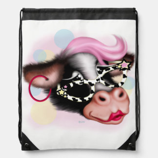 MOO FACE COW CARTOON Drawstring Backpack