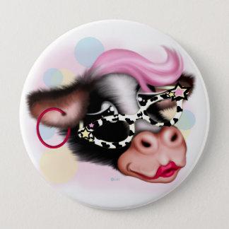 MOO FACE COW CARTOON Standard, Huge, 4 Inch Pinback Button