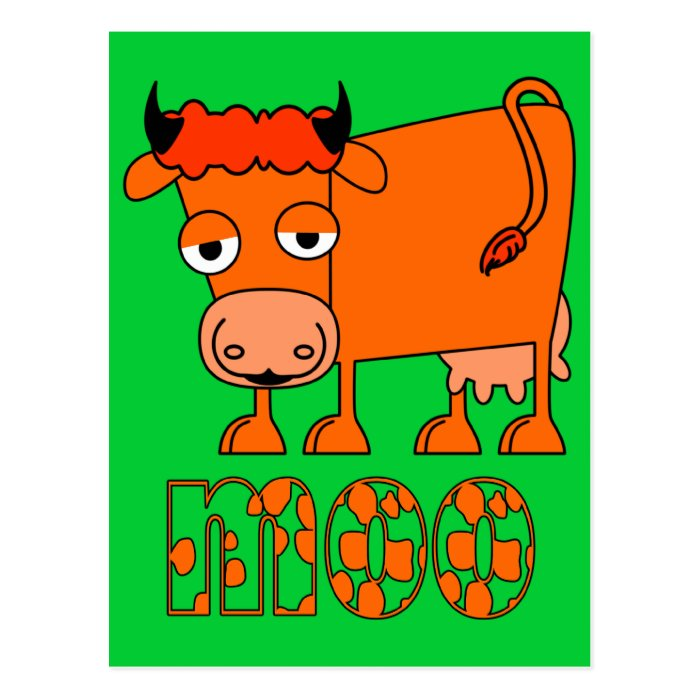 Moo - Ginger Cow Postcard