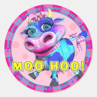 ¡MOO HOO! Pegatinas del cumpleaños con el MOO de Pegatinas Redondas