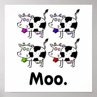 MOO. Impresión linda de la vaca Impresiones