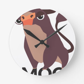 Moo, mean cow design round clock