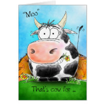 Moo Means Happy Birthday Cartoon Cow Card