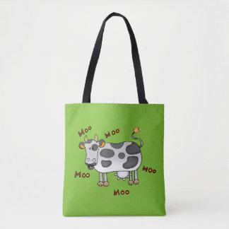 moo moo farm cow tote bag