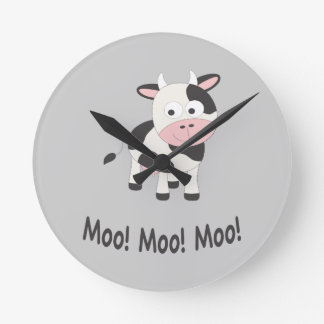 Moo! Moo! Moo! Cute Cow Round Clock