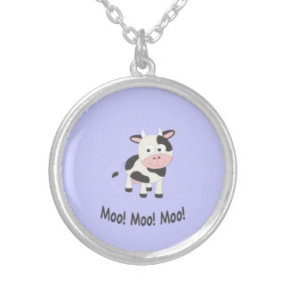 Moo! Moo! Moo! Cute Cow Silver Plated Necklace