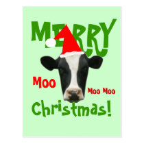 Moo Moo Moo Merry Christmas Cow Postcard