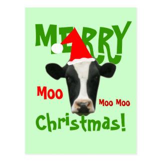 Moo Moo Moo Merry Christmas Cow Postcard