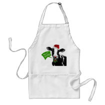 Moo rry Christmas! Funny Holiday Cow in Santa Hat Adult Apron