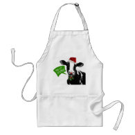 Moo rry Christmas! Funny Holiday Cow in Santa Hat Apron