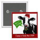 Moo rry Christmas! Funny Holiday Cow in Santa Hat Button