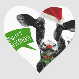 Moo rry Christmas! Funny Holiday Cow in Santa Hat Heart Sticker