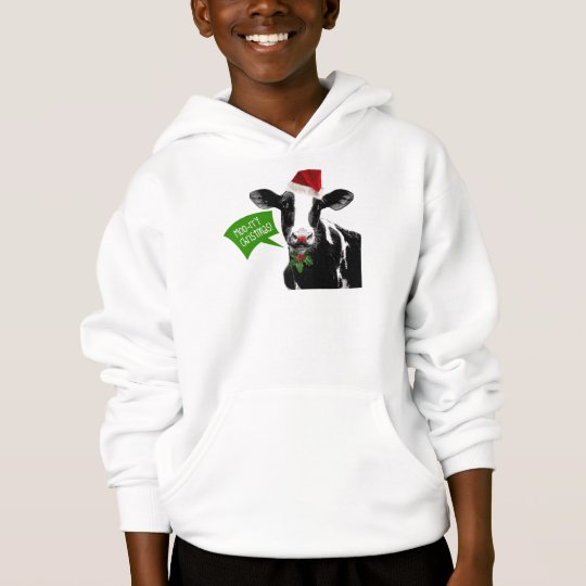 Moo rry Christmas! Funny Holiday Cow in Santa Hat Hoodie