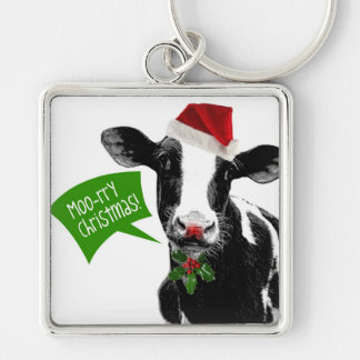 Moo rry Christmas! Funny Holiday Cow in Santa Hat Keychain