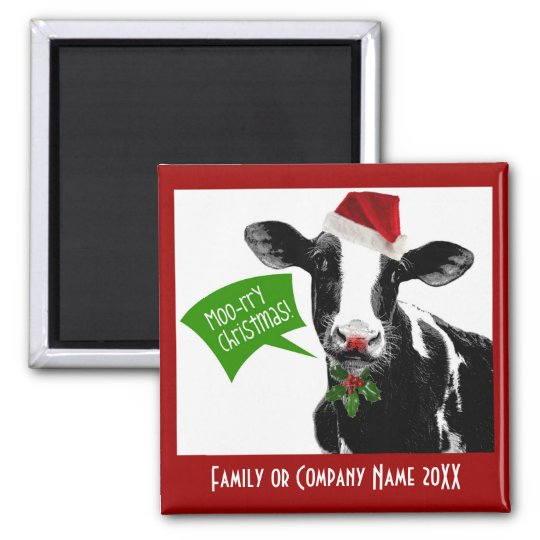 Moo rry Christmas! Funny Holiday Cow in Santa Hat Magnet