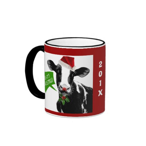 Moo rry Christmas! Funny Holiday Cow in Santa Hat Coffee Mug