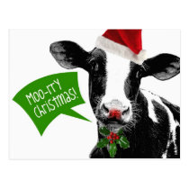 Moo rry Christmas! Funny Holiday Cow in Santa Hat Postcard