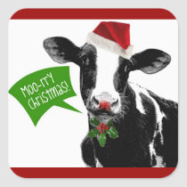 Moo rry Christmas! Funny Holiday Cow in Santa Hat Square Sticker