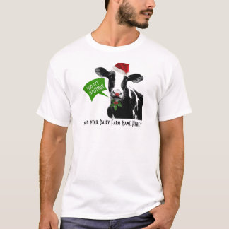 Moo rry Christmas! Funny Holiday Cow in Santa Hat T-Shirt