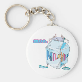 moo silly cartoon milk character basic round button keychain