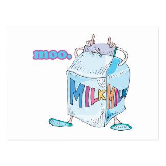 moo silly cartoon milk character postcard
