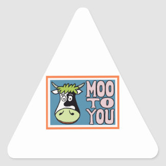 MOO TO YOU (in blue) Triangle Sticker