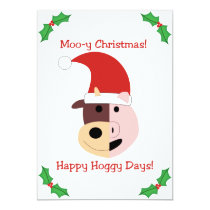 Moo-y Christmas and Happy Hoggy Days! Card