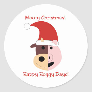 Moo-y Christmas and Happy Hoggy Days! Classic Round Sticker