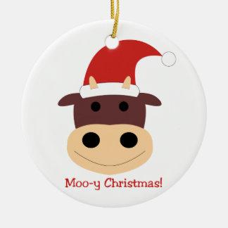 Moo-y Christmas Santa cow Christmas ornament