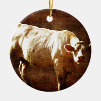 Moo You're on my Land Ceramic Ornament