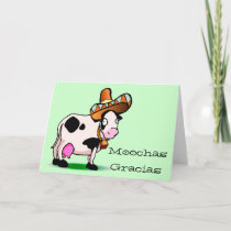 Moochas Gracias Cow Thank you Card