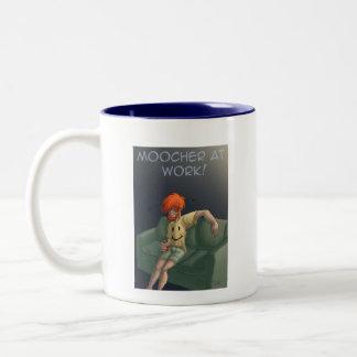 Moocher at work Two-Tone coffee mug