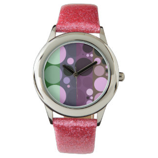 Mood changes, warm colors circles design wristwatch