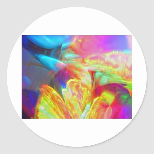 Moods of Motion Colorful Abstract Classic Round Sticker