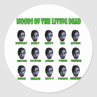 Moods of the living dead classic round sticker