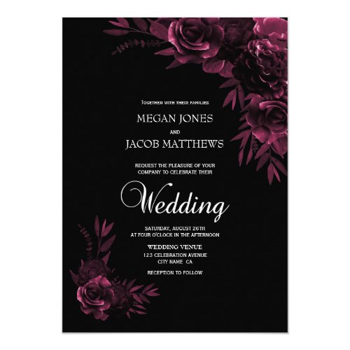 Moody Black and Pink Floral Wedding Invitation
