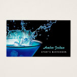 Moody Blue Beverage Splash Edgy Events Bartender Business Card at Zazzle