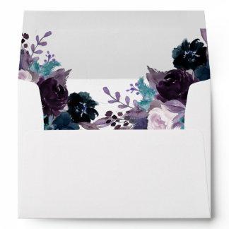 Moody Boho   Eggplant Plum Purple Floral Wedding Envelope