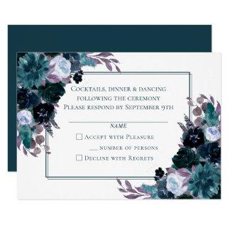 Moody Boho Floral | Modern Dark Teal Plum Eggplant Invitation