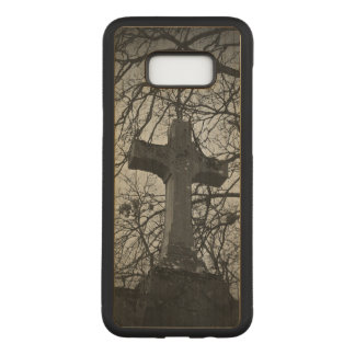 Moody cemetery cross headstone scene carved samsung galaxy s8+ case