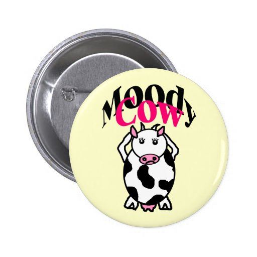 Moody Cow 2 Inch Round Button