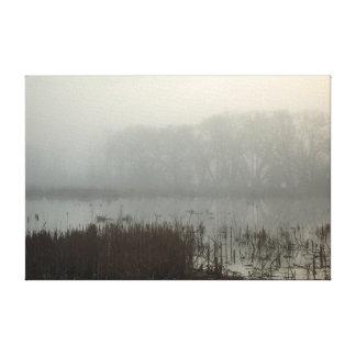 Moody Dense Morning Fog Marsh Trees Landscape Canvas Print