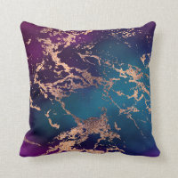 Moody Marble | Deep Luxe Purple Teal Rose Gold Throw Pillow
