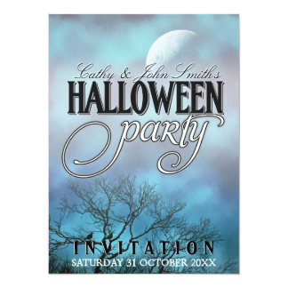 Moody Moon Clouds Halloween Party Invitations