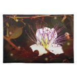 Moody Night: White and Purple Flower Placemat Cloth Placemat
