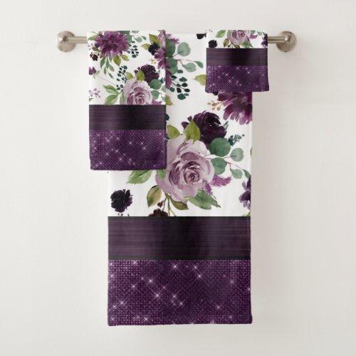 Moody Passion   Dark Purple Floral Pattern Shimmer Bath Towel Set