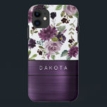"""Moody Passion   Purple Floral Pattern Monogram iPhone 11 Case<br><div class=""""desc"""">Drama and intrigue meet sophisticated elegance in this moody jewel tone color palette featuring hand-painted watercolor floral in luxurious purple shades of plum, eggplant, and dusty lavender embellished by green botanical laurel accents. From the """"Love Bloom"""" collection, this gorgeous design features rich Bohemian wildflower bouquets with radiant flower blooms and...</div>"""
