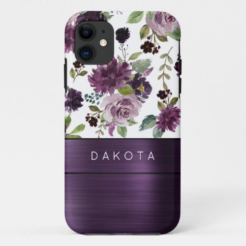 Moody Passion | Purple Floral Pattern Monogram iPhone 11 Case